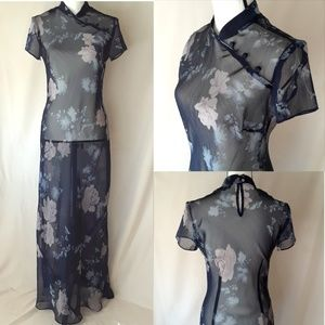 Mica VTG 90's Sheer Blue Flower Print Asian Dress
